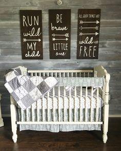 Woodland theme nursery. Gender neutral. Grey and white. Rustic. Baby Shuck nursery