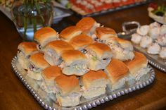 Chicken Salad on Hawaiian Rolls; why didnt I do it like this for the bridal shower?! Yum!!!