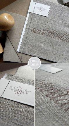 Linen wedding invitations
