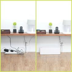 Brilliant cord management solution from Bluelounge. You can fit a whole powerstrip inside. Cool New Gadgets, Pc Table, Cool Mom Picks, Cord Management, Home Office Space, Home Upgrades, Home Gadgets, Organization Hacks, Organizing Tips