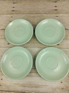 "4 Melmac Melamine Vintage Retro Boonton Jadite Mint Green 6"" Saucers Plates"
