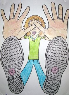 6. This image drawn by an Elementary school student. Foreshortening is when an object seems compressed when seen by a particular viewpoint. This piece's viewpoint is of the floor looking up on the person through glass.