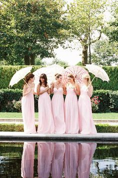 Lovely pink bridesmaid dresses. I like the style of the dresses, but no way I'm doing pink.