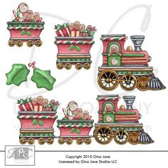 Graphics christmas gingerbread train gina jane clip art images