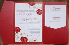red gold rose vine pocketfold wedding invitations by emdotzee red roses wedding invitation ideas Pocket Wedding Invitations, Gold Invitations, Wedding Stationery, Invites, Wedding Planner, Pocket Invitation, Invitation Ideas, Red And White Weddings, Red Rose Wedding
