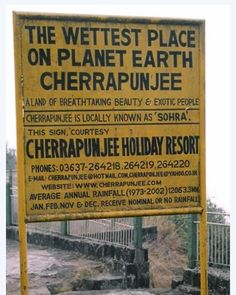 Cherrapunji (India): wettest place on Earth 10,820mm rain falls on average in a year. Unlike Colombia where the rain falls throughout the whole year, Cherrapunji gets most of its rain during the 'south-west monsoon', or wet season, between June and August.