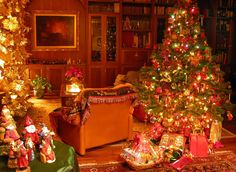 beautiful christmas room#christmas tree orange