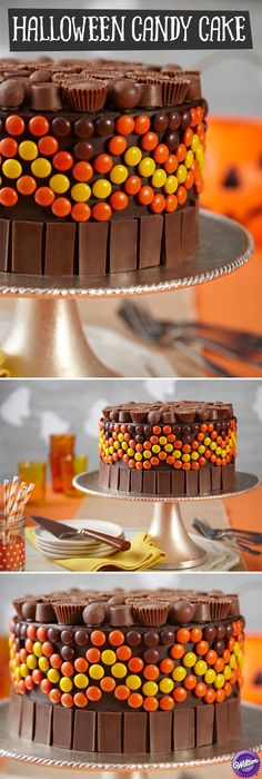 It's DIY trick-or-treating on a cake covered with everyone's favorite chocolates! The simply iced chocolate cake is doubly delicious because it's covered with candy bars, malted milk balls, mini peanut butter cups and more.