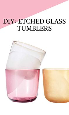 Etched Glass Tumblers | Martha Stewart Living - Personalize your tumblers with etching cream. We fashioned semicircles on each of these to give a cheeky glass-half-full impression. Rinse them after crafting and they're ready to be filled up with a cold drink.