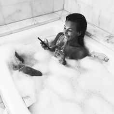 Wine + Bubble Bath // Bikini.com