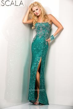 SCALA style 48439 Teal. #Prom2K15 #Spring2015 #Prom2015 #Dress #Gown #PromDress www.scalausa.com