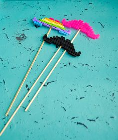 Custom Perler Bead Mustache On A Stick  Photo by KandJCelebrations, $4.75