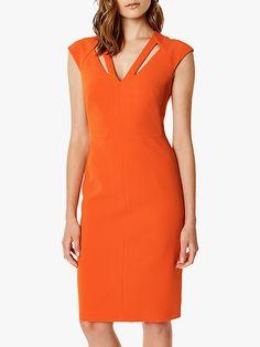 Womens Karen Millen Orange Contour Cut-Out Dress - Orange This pencil dress is enhanced with precisely placed cut-outs that contour your frame. Dinner Date Dresses, Event Dresses, Casual Dresses, Fashion Dresses, Bride Dresses, Dresses For Teens, Dresses For Work, Look Office, Karen Millen