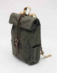Archival Clothing  ROLLTOP IN OLIVE WAXED TWILL  http://pict.com/p/BCc