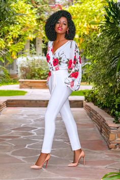 Floral V-Neck Bodysuit + Belted Pegged Pants (Style Pantry) Chic Outfits, Fashion Outfits, Fashion Trends, Womens Fashion, Body Type Clothes, Skater Dress, Dress Up, Moda Formal, Classy Women