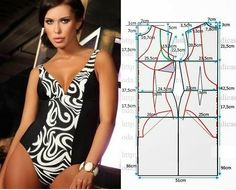 Illustration shows how to alter a standard swimsuit pattern to create this… Underwear Pattern, Lingerie Patterns, Sewing Lingerie, Clothing Patterns, Dress Patterns, Sewing Patterns, Fashion Sewing, Diy Fashion, Sewing Clothes