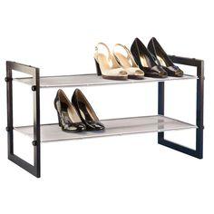 Walnut 2-Tier Stackable Mesh Shoe Shelf
