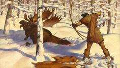 562485. A Penobscot Indian hunts a moose in the valley of the Penobscot River.