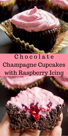 Chocolate Champagne Cupcakes with Raspberry Icing - Low Carb, Grain Free, Sugar Free, THM S via Joy Filled Eats - Gluten Sugar Free Recipes Sugar Free Sweets, Low Carb Sweets, Sugar Free Recipes, Low Carb Desserts, Gluten Free Desserts, Cupcake Recipes, Cupcake Cakes, Dessert Recipes, Tea Cakes