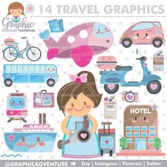 Travel Clipart Travel Graphics COMMERCIAL USE by GraphicAdventure
