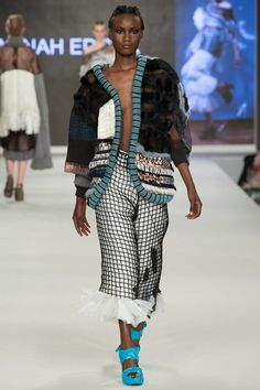 Outfit 2 - Woven bin liners, fishing net, knit, weave, APPLIQUÉ and textiles