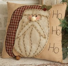 Country Primitive Christmas Santa Pillow with Rusty Bell.