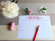 Juin 2015, un joli calendrier pour s'organiser!