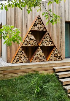 The Woodstock Triangle Log Store by Parker & Coop, the perfect gift for Explore more unique gifts in our curated marketplace. Outside Living, Outdoor Living, Patio Design, Garden Design, Cottage Design, House Design, Triangle House, Log Burning Stoves, A Frame House Plans