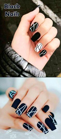 Most Beautiful Black Winter Nails Ideas Such a cute black nails ideas!Such a cute black nails ideas! Cute Black Nails, Cute Nails, Pretty Nails, Nail Black, Yellow Nail, Purple Nail, Ombre Nail, Red Nail, Black Nail Designs