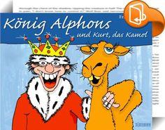 König Alphons und Kurt, das Kamel    ::  König Alphons verwaltet die Ersparnisse seiner Untertanen. Aber statt das Geld in die Kasse zu legen, investiert er es in sehr wichtige Dinge wie Playstations, Kinobillette, Inlineskates und Snowboards. Für so unwichtige Dinge wie Seife, Zahnbürste oder Gemüse gibt er nichts aus. Gar nichts. Es kommt, wie es kommen muss. Eines schönen Tages - König Alphons sitzt gerade mit seiner Königin Ornella beim Mittagstisch - stürmt der Hofschatzmeister in...