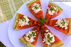 reading tatertots and jello... and this looks delish!!! grilled watermelon and feta. I love weird stuff!