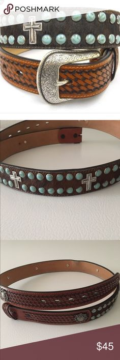 Leather Embellished Western Belt 3D Brand Handtooled Leather Western Belt.  Silver crosses and conchos, brown calf hair, brown leather, turquoise studs. Buckle not included. Accessories Belts