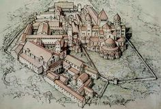 Reconstructie-tekening van de Benedictijnen-abdij van Cluny.