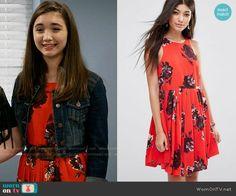 Riley's red floral dress on Girl Meets World. Outfit Details: https://wornontv.net/62386/ #GirlMeetsWorld