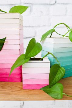 DIY Wooden Ombre Vase Covers.