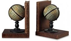 CHECK OUT! Bookends Atlas Globe https://seethis.co/L7X75/ #bookends #globe #atlas #decor #wood #dorm #college #school #Back2School