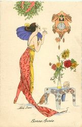 lady in trailing red/yellow dress under mistletoe raises her glass to cuckoo clock striking the new year, flowers on table Wine Label Art, New Years Eve Day, New Year Illustration, New Year Postcard, New Year Greetings, Table Flowers, Mistletoe, Yellow Dress, Clock