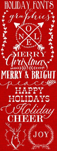 Holiday Christmas Fonts and Graphics for your Christmas cards, church or school programs