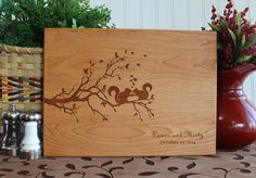 Personalized Cutting Board Squirrel Lovers on Tree Branch Wedding Anniversary Gifts