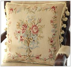 RIBBON-ROSE-BOUQUET-Aubusson-Tapestry-Pillow-Cushion-Vintage-French-Home-Decor