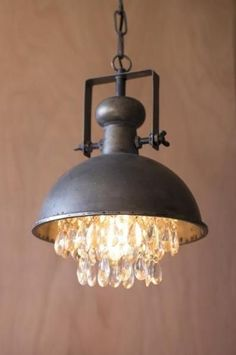 Metal Pendant Lamp With Hanging Crystals #LampSuspension