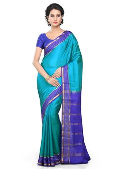 Mysore silk sarees are known for their light weight and fluidic texture. Solid colours with golden or silver zari make it perfect for weddings.
