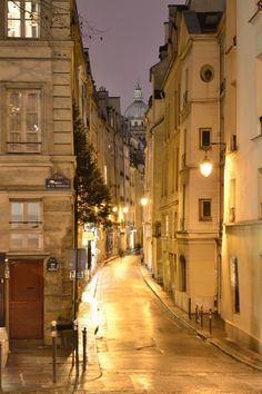 Paris street at night (with the Pantheon in the background)