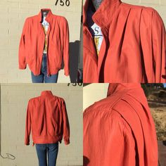 Sale Vintage Coral Leather Bomber Jacket by WingedTigerEmporium