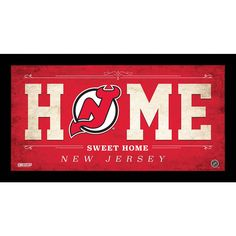 New Jersey Devils 6x12 Home Sweet Home Sign - Celebrate your allegiance to your team with this incredible Framed 6x12 Home Sweet Home Team Sign. This is a must have for anyone who loves their team but cant make it to the game. This sign is perfect for your man cave above your bar or wherever you want to proudly display your fandom. Official NHL Licensed ProductComes Framed & Ready to DisplayPerfect Gift or Collectors Item. Gifts > Licensed Gifts > Nhl > New Jersey Devils. Weight: 1.00