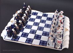 Porzellan Schachspiel Gardner  Verbilky Moskau Verbilki Russian Porcelain Chess