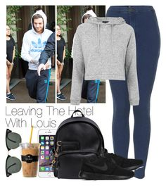 """""""Leaving The Hotel With Louis"""" by twerkhazz ❤ liked on Polyvore featuring Topshop, Dsquared2, NIKE, Ray-Ban and Keurig"""