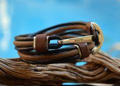 FREE SHIPPING leather wrap bracelet mens hope bracelet by OLDU