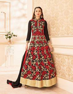 #Gauhar #Khan In Semi Stitched Red And #Black #Anarkali #Suit #nikvik  #usa #designer #australia #canada #freeshipping #suits #pakistani