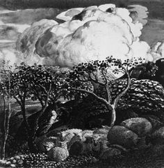 Drawing by Samuel Palmer (1805-1881), British Romantic landscape artist | Drawing for The Bright Cloud, 1831-32